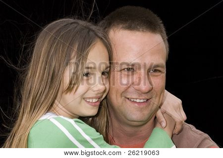 cute caucasian american girl with father