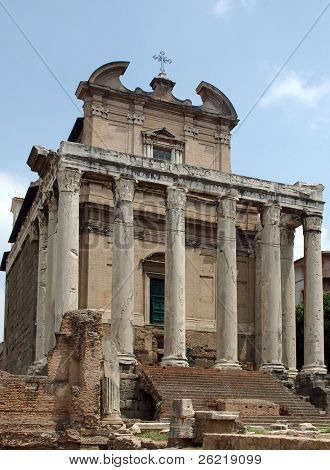 Ancient temple of Antonio and Faustina in the Roman Forum