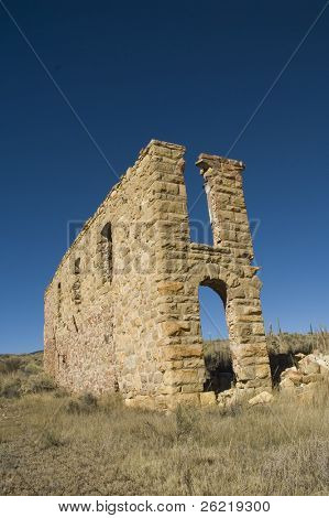 Old dilapidated building in ghost town called Elizabeth in New Mexico on the enchanted circle