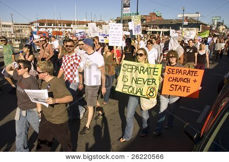 San Francisco -11/15/2008: Gay & Lesbian march against Prop 8 along Fishermans Wharf Nov 15th 2008