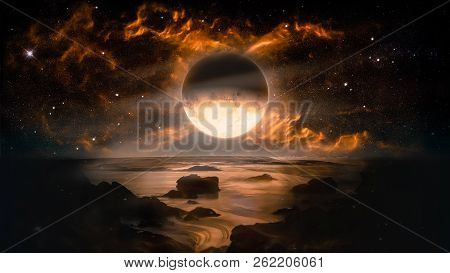 poster of Landscape In Fantasy Alien Planet With Flaming Moon And Galaxy Background. Elements Of This Image Fu