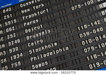 Flight Information Board In Airport