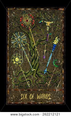 Six Of Wands  Minor Arcana Tarot Card  The Magic Gate Deck  Fantasy Graphic  Illustration With Occult poster