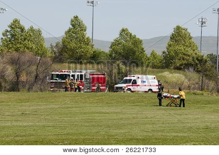 LIVERMORE, CA - MAY 1: Emergency vehicles on the scene of a riding accident on May 1, 2010 in Roberts Park, Livermore, California.
