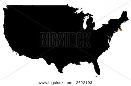 Rhode Island Location Map (Usa)