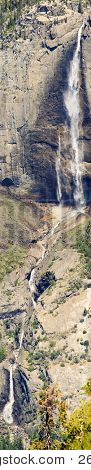 Yosemite falls in it's entirety as seen from Sentinel Dome, Yosemite, California