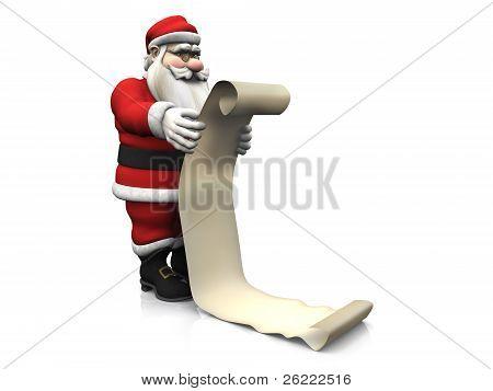 Cartoon Santa Holding Long Wishlist.