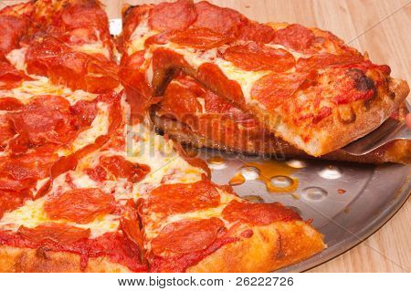 removing a slice of Pepperoni pizza with a spatula  on a pan