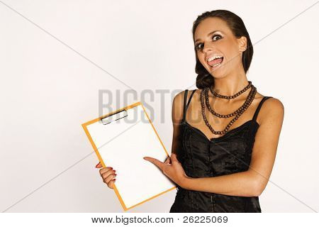 portrait of a beautiful brunette girl holding a notepad on white background
