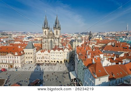 Prague, view from a tower on Old Town Square