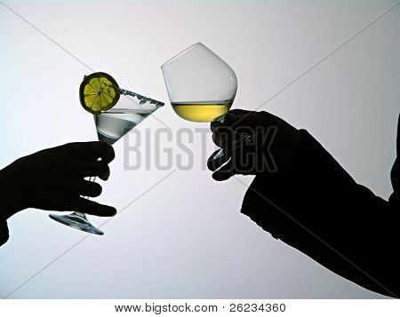 Hands with glass with drinks