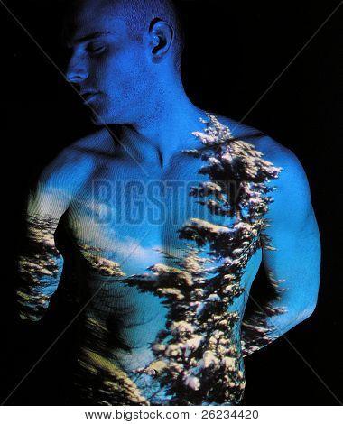 Projektion des Winters auf menschlichen Körper