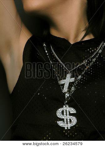 Rap Glamour Black Girl With Dollar and Cross Simbol