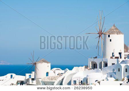 Windmills in Santorini island (Greece)