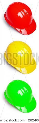 Red Yellow and Green Hardhat hard hat Helmet in semaphore colors