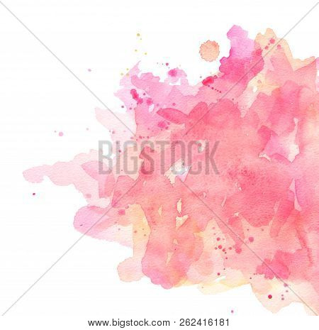 poster of Abstract Spots Pink Watercolor On White Background. The Color Splashing In The Paper. It Is A Hand D