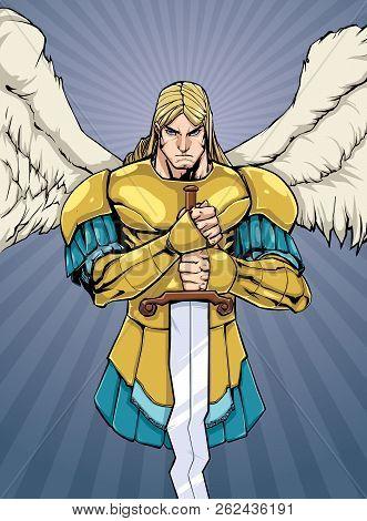 Full Color Illustration Of Archangel