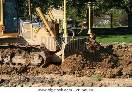 bulldozer moving dirt...action shot