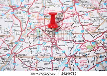 Map showing the city of nashville Tennessee pinpointed by a red thumb tack