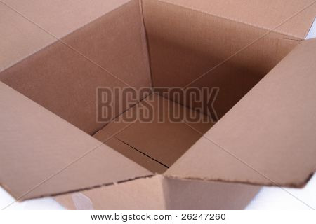 Open, empty brown cardboard box