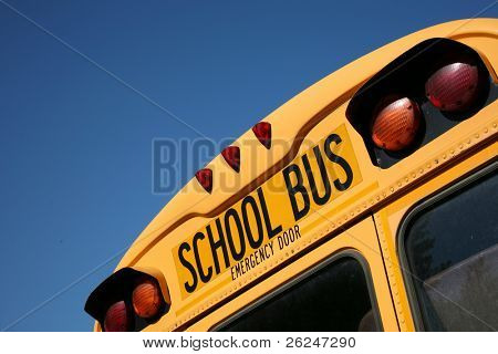 Back of a school bus with copy space