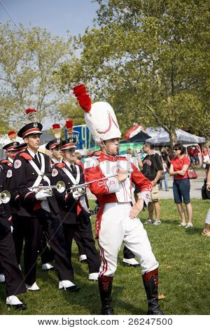 Drum major leading the Ohio State Buckeyes