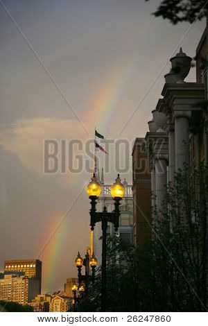 Beautiful rainbow in historic Boston Massachusetts in the back bay area