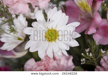 Pink floral wedding arrangement with a daisy in the center
