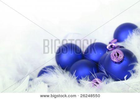 Festive blue Christmas ornaments