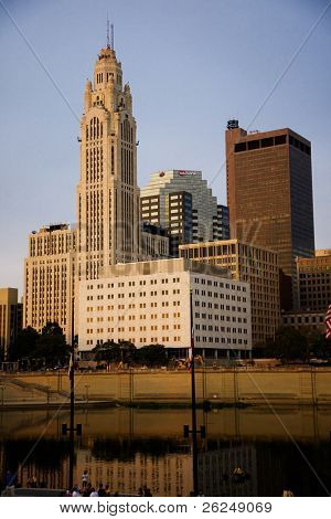 COLUMBUS, OHIO-SEPTEMBER 20: Skyline along the Scioto River showcasing the Leveque Tower