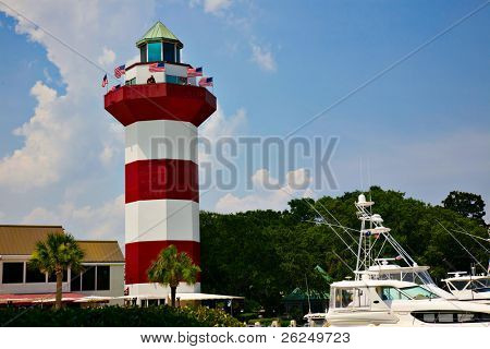 Lighthouse in Harbor Town on Hilton head Island