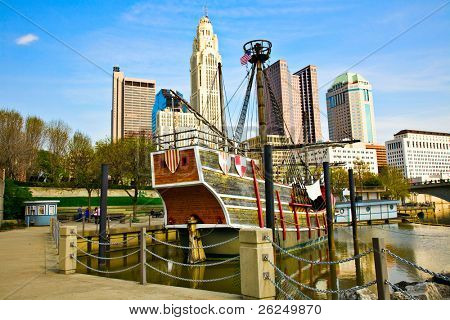 Columbus, Ohio cityscape with the Santa Maria in the foreground