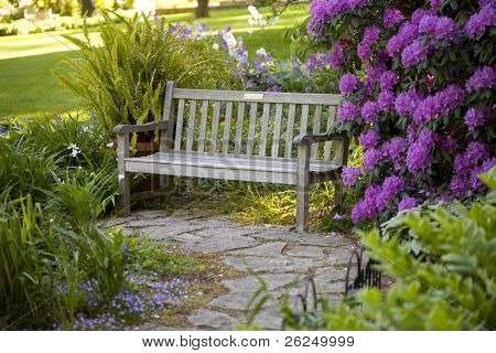 Bench in beautiful Inniswood Park in Westerville, Ohio