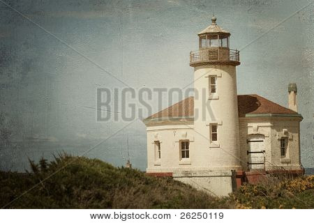 Historic Coquille River Lighthouse in Bandon, Oregon with a vintage finish