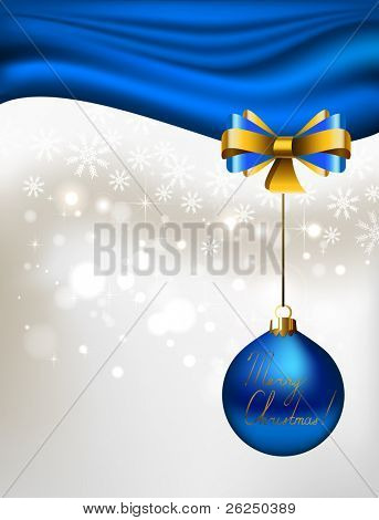 glimmered Christmas background with blue  evening ball