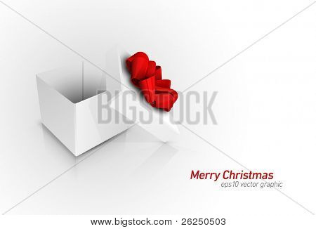 Gift Box with Red Ribbon Bow | Detailed 3D EPS10 Vector Graphic | Separate Layers Named Accordingly