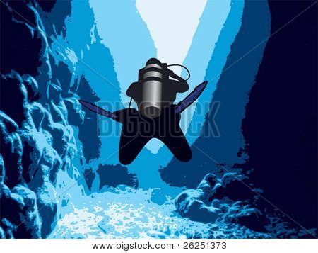 Diver in the cave and sunlight
