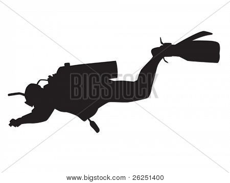Vector silhouette of underwater photographer