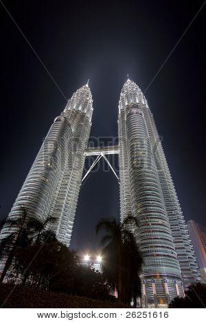 The Petronas Towers at night. Kuala Lumpur city