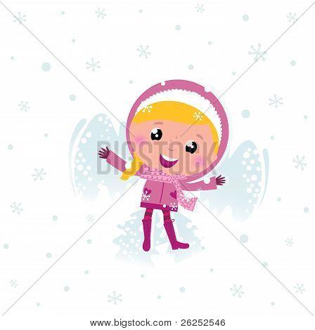 niedliche Rosa Kind machen Engel im Schnee.
