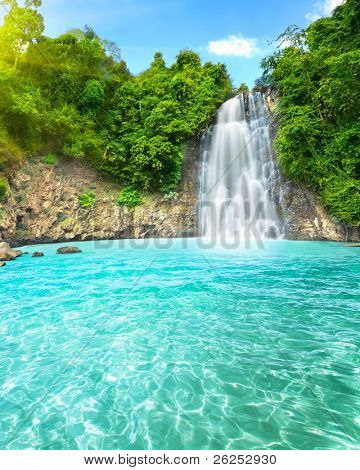 "Beautiful ""Dambri"" waterfall in tropical forest. Vietnam"