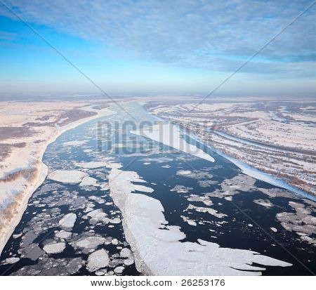 Top View Greate River In A Frosty Day