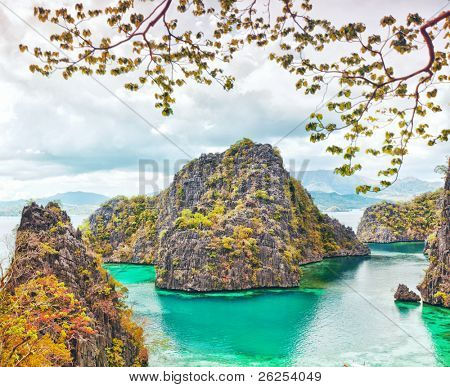 Tropical lagoon on the way to Kayangan lake. Coron island