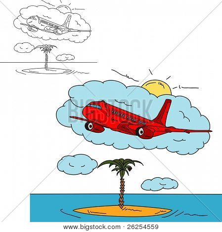 vector - Airplane over island , isolated on background