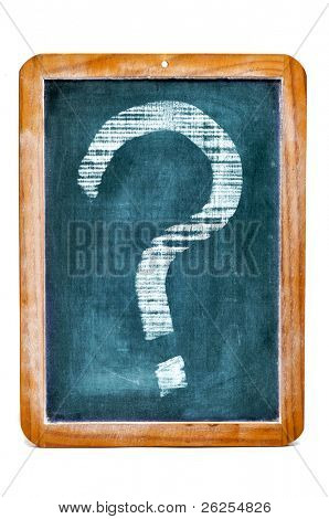 a chalkboard with a question marks written on it