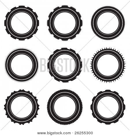 Black car tyre selection with different treads and patterns