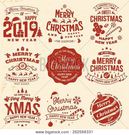 Christmas Posters.Set Of Merry Christmas And 2019 Happy New Year Stamp Sticker Set With Snowflakes Hanging Christmas Poster