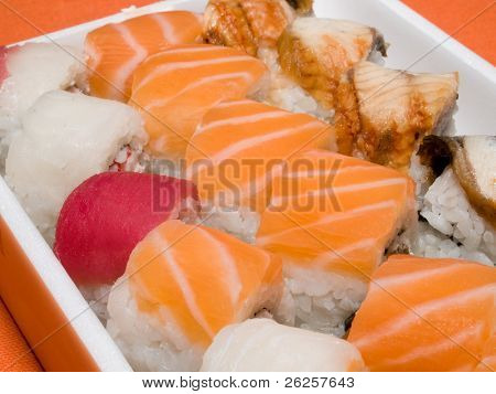 macro of rolls and sushi - japanese traditional food background