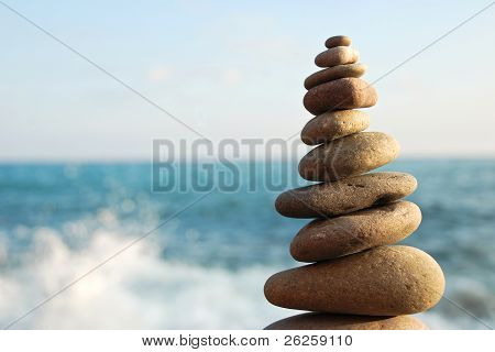 Stone Tower On A Pebble Beach