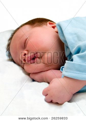 sleeping baby isolated on white